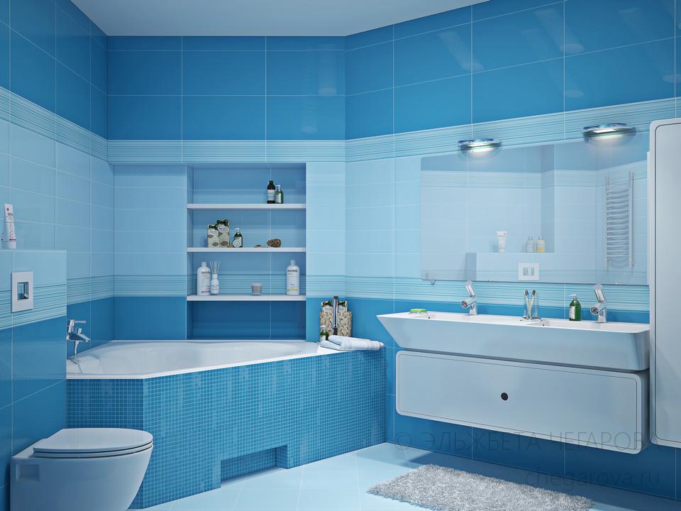 Дизайн ванной голубого цвета